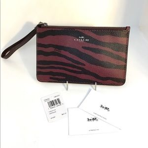 COACH Black & Burgundy Tiger Wristlet